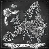 Europe Map On Vintage Handwriting Blackboard