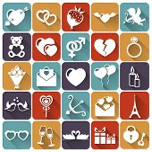 Set Of Love And Romantic Flat Icons. Vector Illustration.