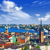 Scenic  panorama of the Old Town (Gamla Stan) in Stockholm, Swed