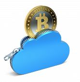 stock photo of bitcoin  - 3D concept with golden bitcoin in the zippered cloud - JPG