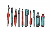 Writing Instruments Cartoon Set