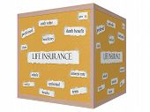 Life Insurance 3D Cube Corkboard Word Concept