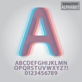 Anaglyphic Alphabet And Numbers Vector
