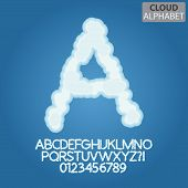 Blue Cloud Alphabet And Numbers Vector