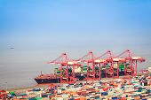 Container Terminal With Foreign Trade Background