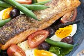 Salad nicoise with grilled atlantic salmon.  Delicious, healthy eating.
