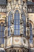 Prague Town Hall window with sculptures