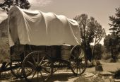 stock photo of covered wagon  - old covered wagon from the days of the west