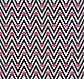 Black And White Horizontal Chevron Striped With Polka Dots Background