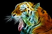 stock photo of bengal cat  - Abstract view of the tiger head with an open mouth - JPG