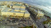MOSCOW - OCT 20: View from unmanned quadrocopter to city panorama with The Malyi Theatre and highway with parking car on October 20, 2013 in Moscow, Russia.