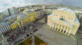 MOSCOW - OCT 20: View from unmanned quadrocopter to cityscape with Bolshoi Theatre and car parking o