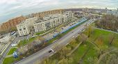 MOSCOW - OCT 21: ( UAV view)  Moscow City Court with long car parking with plastic cover near the re