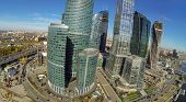 MOSCOW - OCT 12: View from unmanned quadrocopter to cityscape with towers of Moscow City and constru