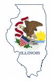 stock photo of illinois  - State of Illinois flag map isolated on a white background - JPG