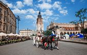 Horse Cab On Main Square Of Krakow