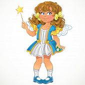 Pretty little girl with magic wand