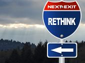 Rethink road sign with nature sky view