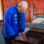Japanese Monk at Todaiji Temple in Nara