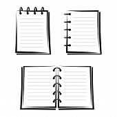 Set of three notebooks. Vector black silhouettes.