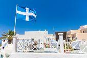 View Of Fira Town - Santorini Island,crete,greece. White Concrete Staircases Leading Down To Beautif