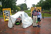 Man Is Demonstration In Front Of The White House In Rain For Peace And Against Nuclear Wapons