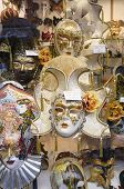 VENICE, VENETO, ITALY - MAY 24, 2011: Venetian masks for sale in a shop window in Venice. May 24, 20