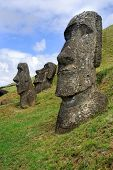 Moai sit on Easter Island on February 6, 2012. The giant monuments were carved from volcanic stone a