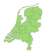 A stylized map of the Netherlands in green tone showing the different provinces. All isolated  on wh
