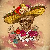 image of sombrero  - Skull in sombrero with flowers Day of The Dead - JPG