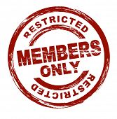 A stylized red stamp symbolizing a restricted member area. All on white background.
