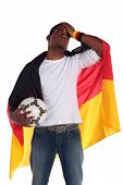 A frustrated german soccer supporter. All on white background.
