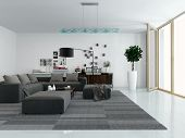 Modern living room interior with a comfortable upholstered lounge suite, houseplants and nice decora