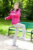 Mongolian Woman During Morning Training