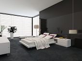 Spacious modern bedroom with an adjustable double bed, large wrap around view window with blinds, ca