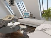 Bright airy modern living room interior with a cream modular corner lounge suite and large sloping w