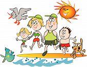 Happy family beach cartoon