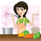 Cartoon Smart Girl Cooking Vegetarian Soup In Kitchen