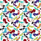 Seamless pattern with different shoes