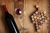 stock photo of grape  - Red wine bottle - JPG