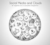 Social Media and Cloud concept background with a lot of icons for seo, advertising banners, cover ma