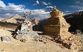 Stupas In Murgum La Pass - Zanskar Trek, Ladakh, Jammu And Kashmir, India