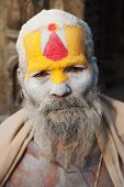 Kathmandu, Nepal - Dec 16, 2013 Famous Painted Sadhu (holy Man) About Pashupatinath - 16Th Of Decemb