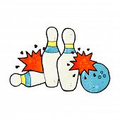 cartoon bowling ball and skittles