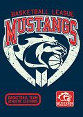 picture of mustang  - Mustangs basketball league on a navy background - JPG