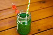 Spinach Green Smoothie As Healthy Summer Drink.