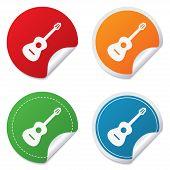 Acoustic guitar sign icon. Music symbol.