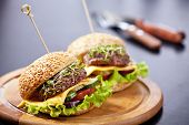 picture of burger  - Two burgers with meat and greens on gray background - JPG