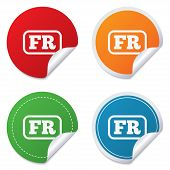 Постер, плакат: French language sign icon FR translation