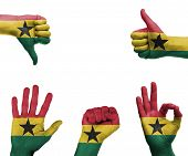 Hand Set With The Flag Of Ghana